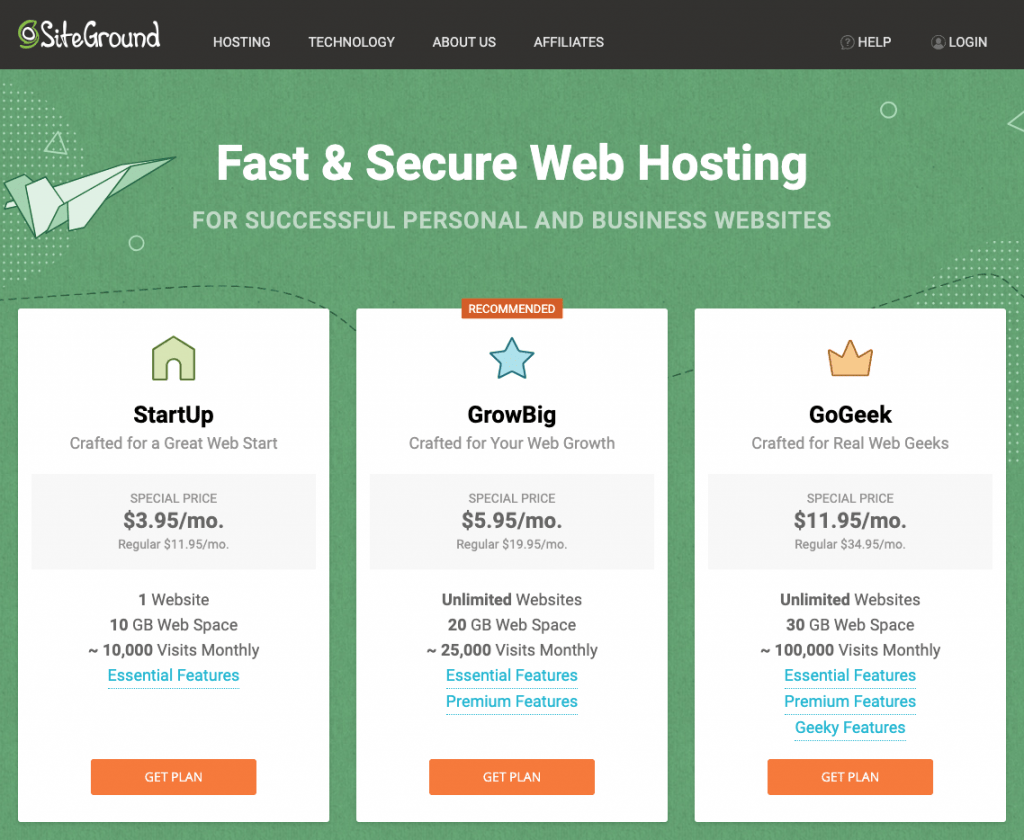 Pricing for SiteGround Hosting Plans