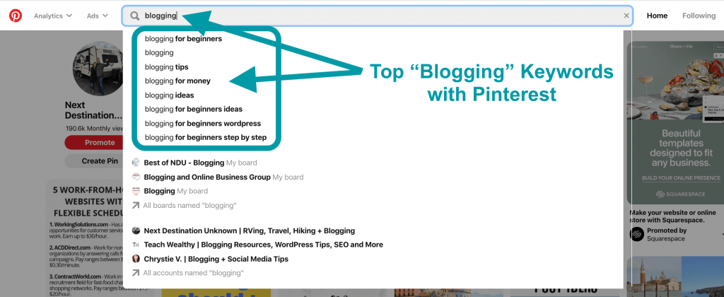 Pinterest for Blogging Keyword Search with Pinterest