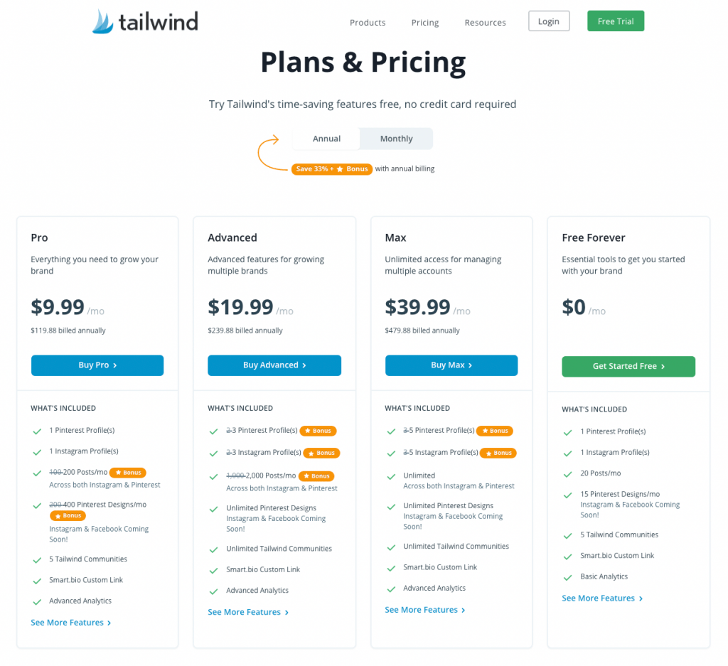 Tailwind Pricing and Plans