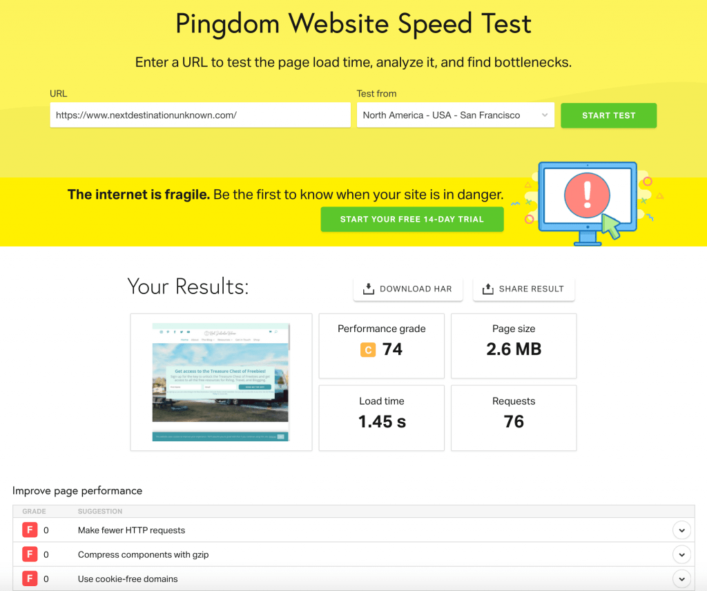 Pingdom Site Speed Results AFTER Scaling Images