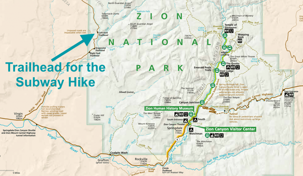 Map of Zion National Park The Subway Trailhead