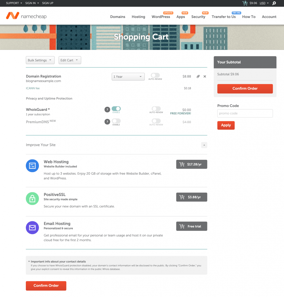 Namecheap Shopping Cart for Blog Name Domain Name