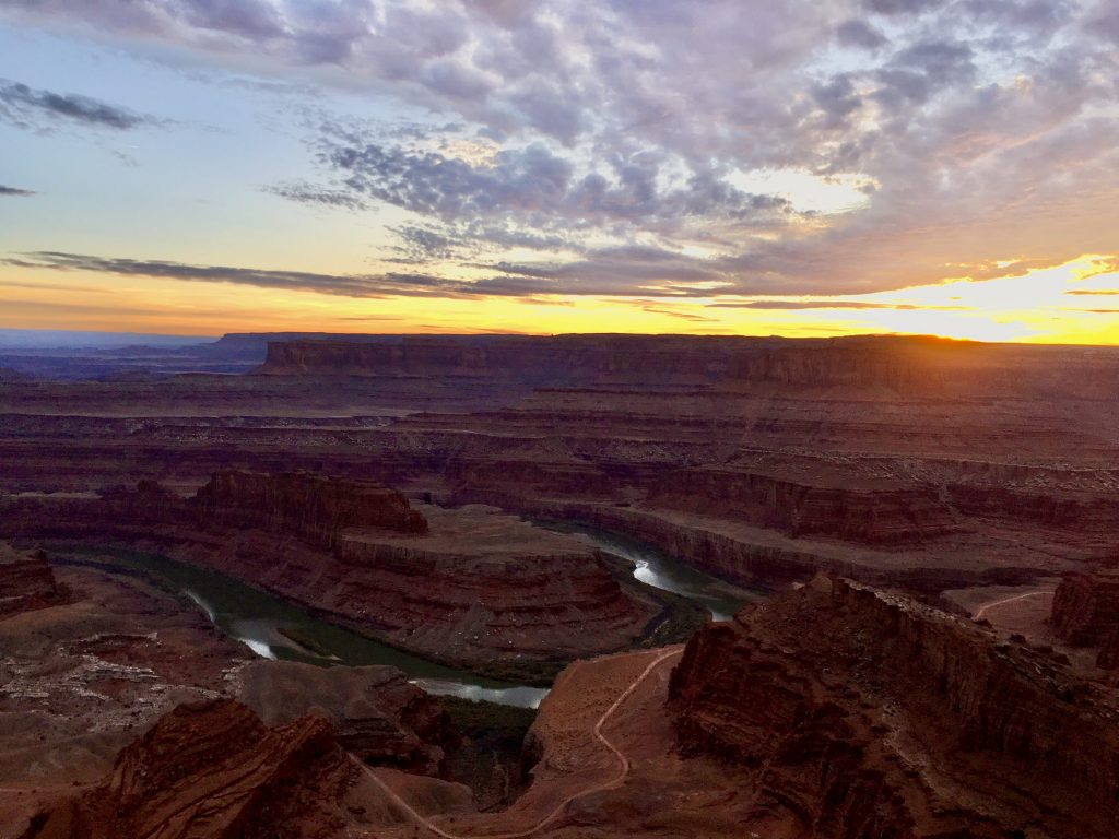 Sunset at Dead Horse Point State Park on Utah National Parks Road Trip
