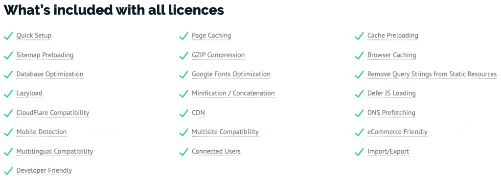 WP Rocket Included Features for All Licenses