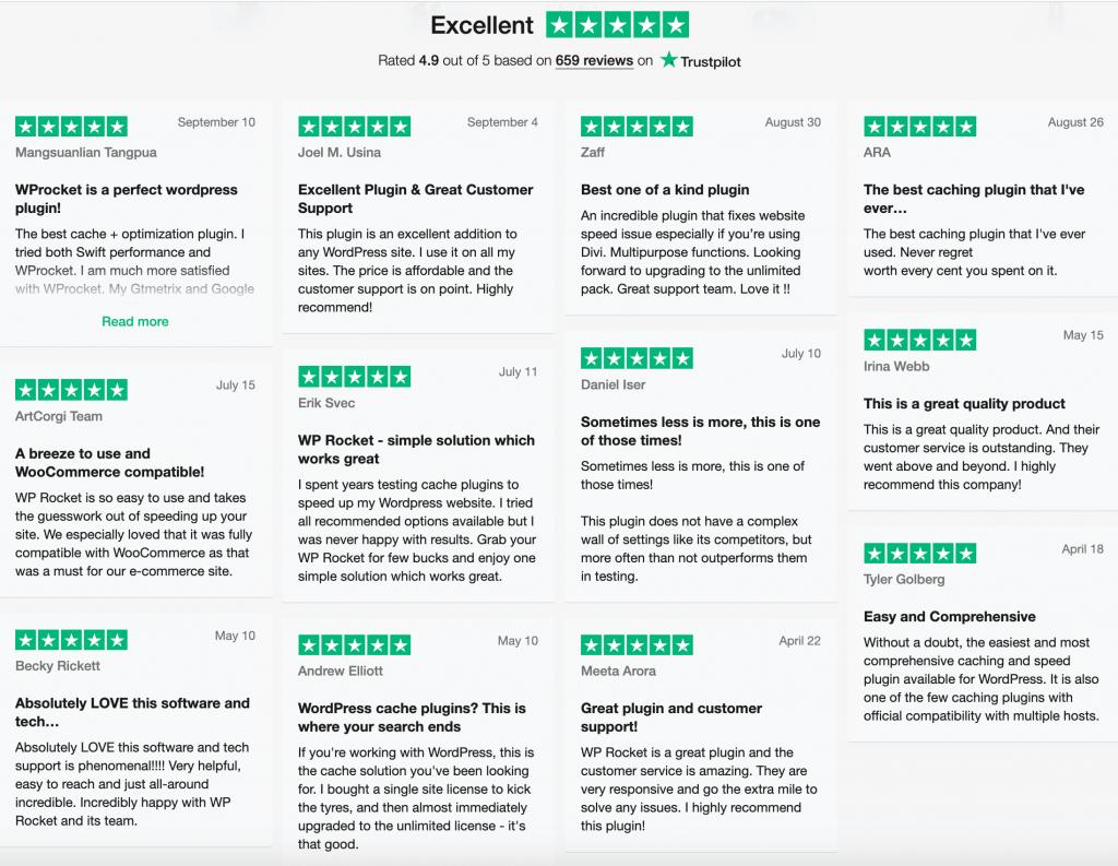 WP Rocket Trustpilot Reviews