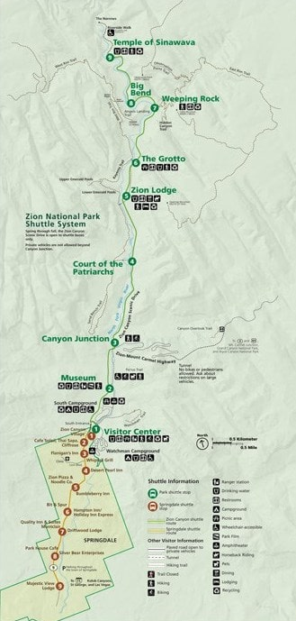 Zion National Park Zion Canyon Map with Shuttle Stops for Utah National Parks Road Trip