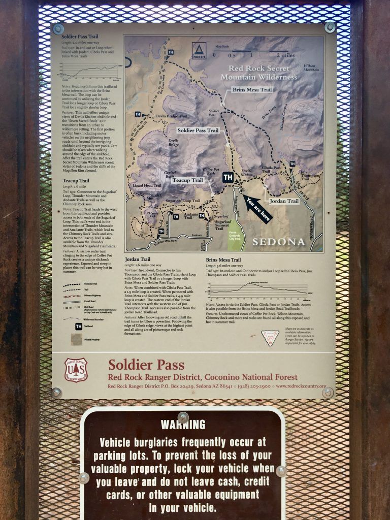 Soldier Pass Trail Info at Trailhead