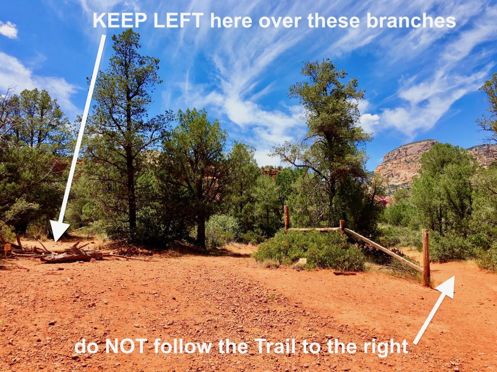 The Hidden Trail Turn-Off for the Birthing Cave on Long Canyon Trail Sedona - Keep Left Here
