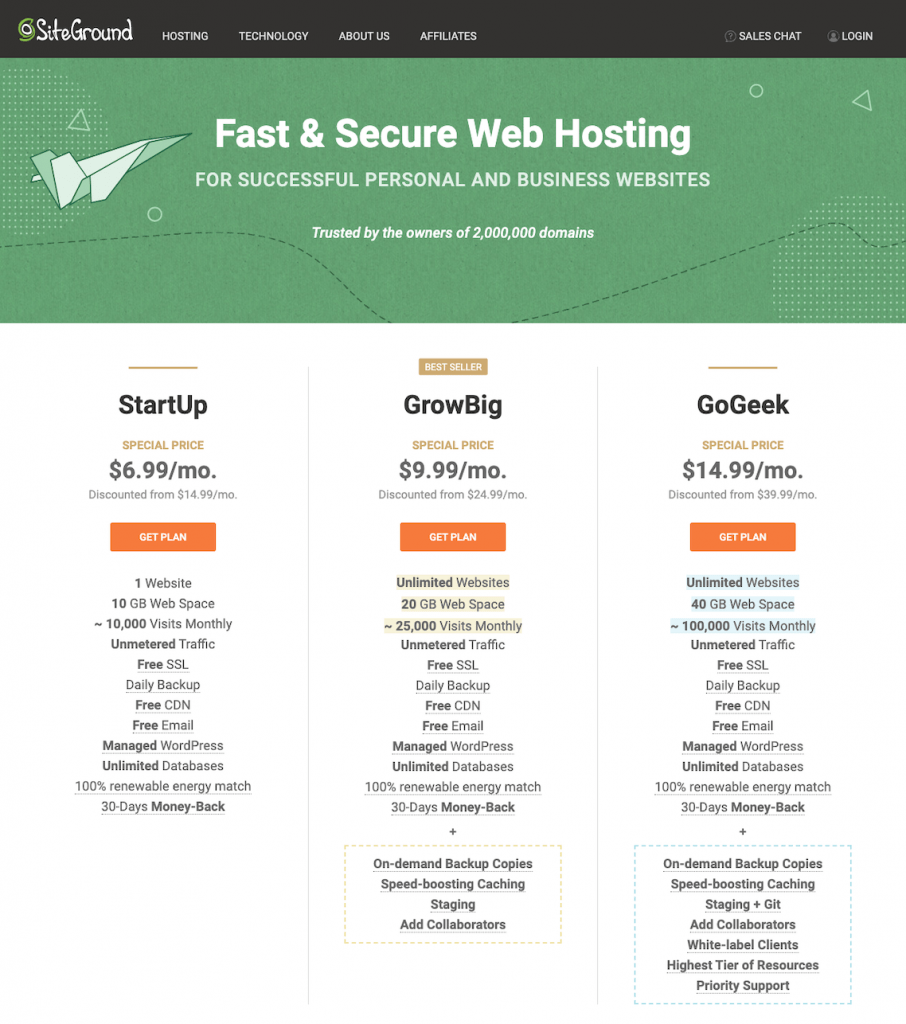 Pricing for SiteGround Web Hosting Plans