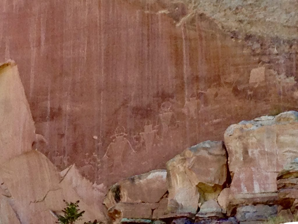 Close-Up of Petroglyphs at Capitol Reef National Park in Utah