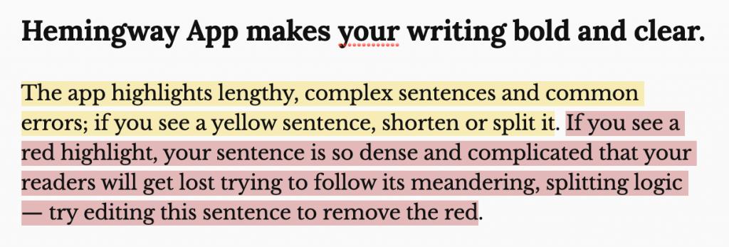 Hemingway App for Shortening Paragraphs and Sentences