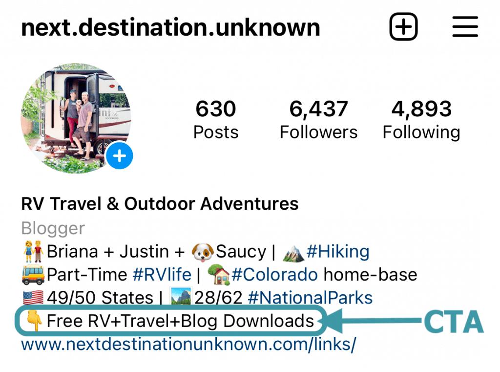 Next Destination Unknown Instagram for Business Account Bio CTA