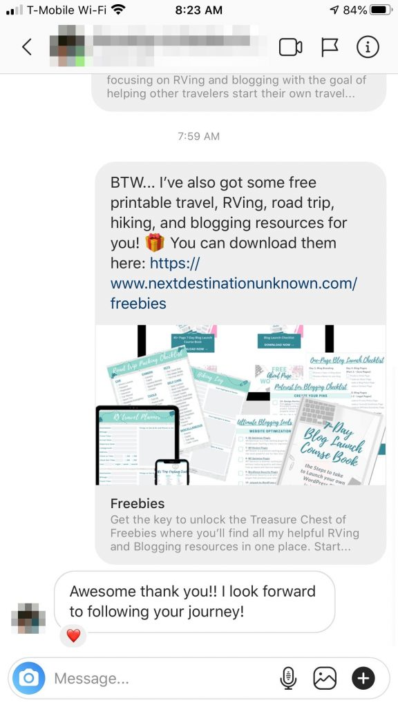Instagram for Blogging Saved Replies Follow Up Message Response